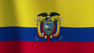Realistic Ultra-HD flag of Ecuador waving in the wind. Seamless loop with highly detailed fabric texture.