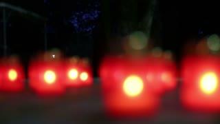 red lamp nice bokeh in the night