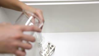 Researcher fluid laboratory test tubes
