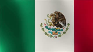 Seamless loop of the Mexican flag waving in the wind with highly detailed fabric texture