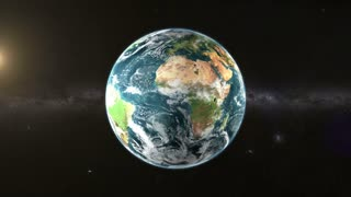 Slanet Earth rotate in space with Sun