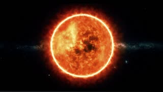 Sun with flares rotate in space
