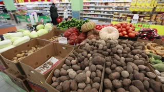 vegetables in the store panoramic shot
