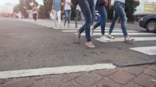 Abstract People on Street slow motion FullHD footage