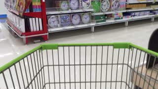 Shopping wagon chart in supermarket time lapse