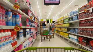 CHIANG RAI, THAILAND - JUNE 3: stand still shoping cart at the aisle in supermarket on June 3, 2018 in Chiang rai, Thailand.
