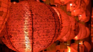 4K : Chinese paper lanterns in the night on Chinese new year celebration