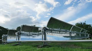 4K Timelape of countryside scenery with solar power plants
