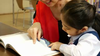 4K UHD : Little Asian students and teacher reading book in library together