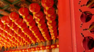 4K Video : Chinese paper lanterns behind the door on Chinese new year celebration