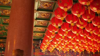 4K Video : Chinese paper lanterns in the temple for Chinese new year celebration
