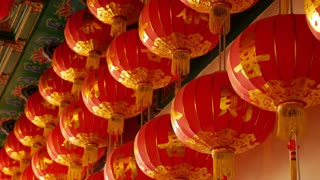 4K Video : Chinese paper lanterns in the temple on Chinese new year celebration