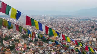 4K Video Cityscape view of Kathmandu city, Nepal : Zoom out shot