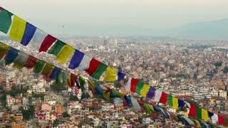 4K Video Cityscape view of Kathmandu city, Nepal : Zoom out shot