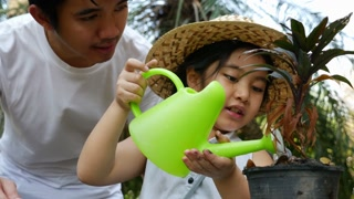 4K video of a happy Asian girl watering her plant in the garden with father