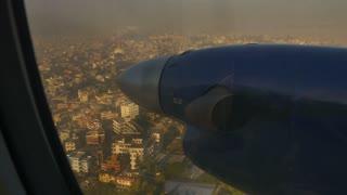 Air plane landing to airport at Kathmandu, Nepal