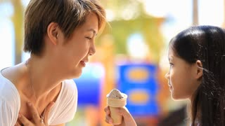 Asian Mother and child eating icecream together