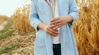 Asian woman enjoying in the corn field, Slow motion shot