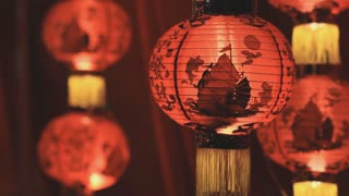 Chinese paper lanterns in the night on Chinese new year celebration