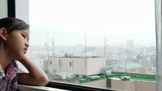 Sadness Asian Girl, Depressed Youth, Feelings, Pan shot
