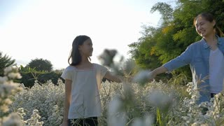 Slow motion of Happy Asian girl walking with her mother in the flower field with sunlight