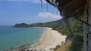 Tropical beach view from the hut in Krabi province, Thailand : Pan shot