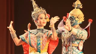 Unidentified actress is showing Thai ballet, non sound