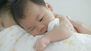 4K Asian father take care his newborn baby