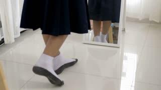 4K : Asian student dressing school uniform prepare to school
