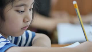 4K : Asian students doing homework at home