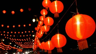 4K Chinese paper lanterns in the night decorated for Chinese new year celebration