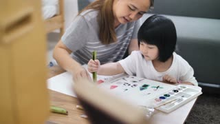 4K : Happy Asian Mother and daughter together paint, Happiness moment at home