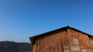 Vintage bamboo hut with blue sky
