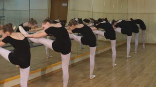 a group of girls with their leg up in a barre during a ballet class at school