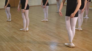 Closeup of a group of young girls and a dance teacher learning ballet in a dance studio