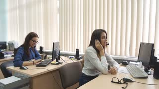 Customer service team woman call center smiling operator phone