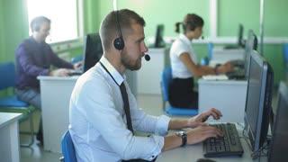 man customer service in call center