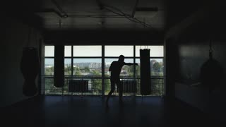 silhouette of a boxer in the hall