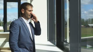 successful young businessman talking on the phone near the window in the office