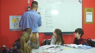 Teacher writing on the board in an elementary school class