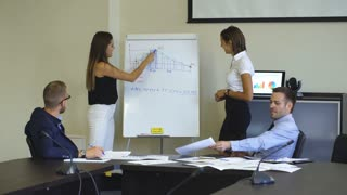 two businesswoman showing a business plan on blackboard for your colleagues in the conference room