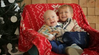 Two little brothers sitting on a chair in the studio