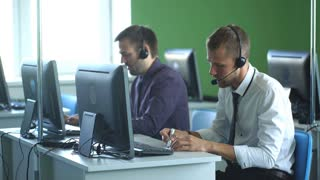 two man working in call center