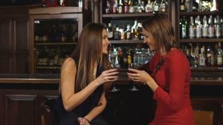 Two Women Enjoying Drink Together In Bar