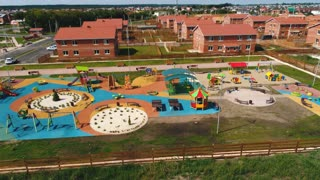 Aerial view of a big kid games playground