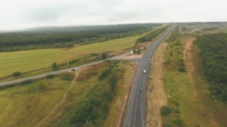 Aerial view of a highway, suburban landscape near city