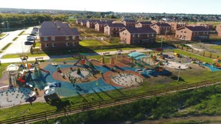 Aerial view of children's slides at park outdoor