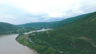 Aerial view of Mtskheta, Georgia from flying drone. Mtskheta was old capital of Georgia.