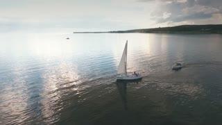 Aerial view of sailboat at sea