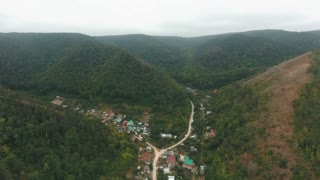 aerial view on a small village in the hills